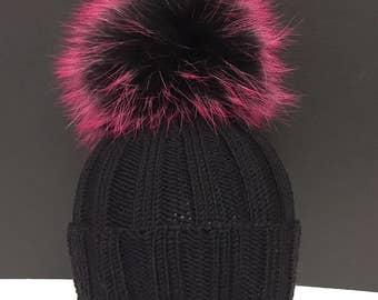 dd1d655b883 Ribbed Black Wool Beanie Hat - Black Pink Raccoon Fur Pom Pom - READY TO  SHIP