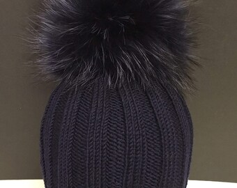 224060036ea Ribbed Navy Blue Wool Beanie Hat - Navy Blue Raccoon Fur Pom Pom - Real Fur