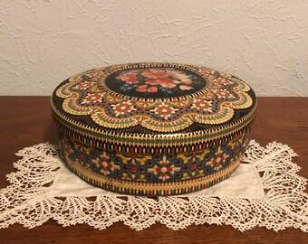 Vintage Floral Tin - Round Tin, Made in Holland, Storage Tin, Sewing Kit Storage Tin, Embossed Floral Details