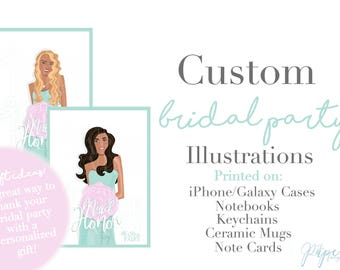 Custom Bridal Party Portrait Illustrations