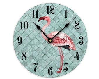 Home D/écor Clock Large 10.5 Wall Clock 10.5 PINK FLAMINGOS WADING CLOCK