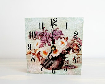 Floral Clock for Desk, Handmade Shelf Clock, Small Table Clock, Nightstand Decor, Cottage Chic Decor, Office Decor, Pretty Gifts for Mom
