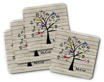 Personalized Coasters, Family Tree Coasters Set, Bird Drink Coasters, Gift for Mom, Gift for Grandma, Housewarming Gift, Family Gifts