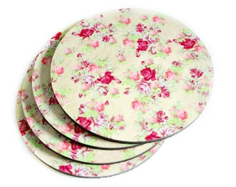 Shabby Cottage Coaster Set - Shabby Pink Floral Coasters - Pink Floral Coaster Set - Drink Coasters - Cottage Decor