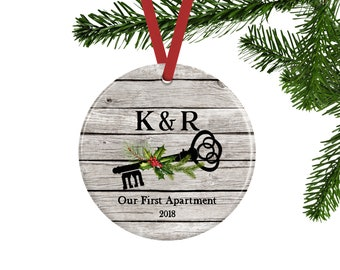 Our First Apartment Ornament Skeleton Key Christmas Personalized Couples Rustic Decor Warming Gift