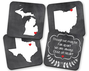 Custom State Drink Coasters, Long Distance Friends and Family Gifts