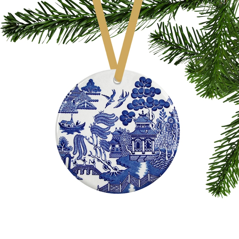 Blue Willow Christmas Ornament Vintage Style Tree Decor