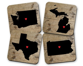 Personalized State Coasters for Drinks, Long Distance Holiday Gifts