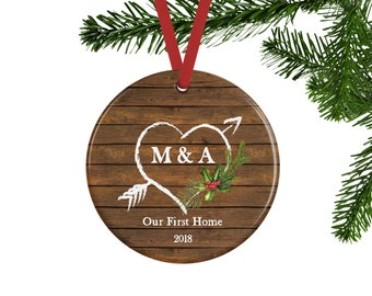 Our First Home Ornament, Personalized Christmas Ornament, New Home Gift for Couple, Rustic Housewarming Gift