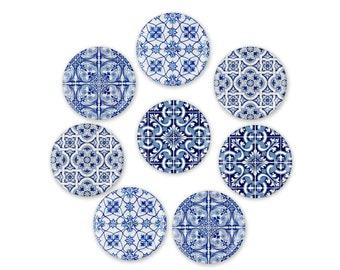 Blue Tile Print Refrigerator Magnets, Blue Kitchen Decor, Hostess Gifts
