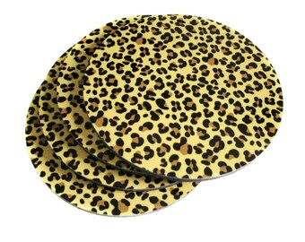 Leopard Coaster Set - Leopard Print Coasters - Hollywood Glam Coaster Set - Leopard Print Decor - Drink Coasters - Gift for Her