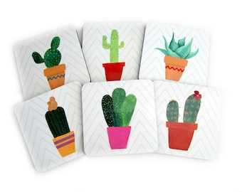 Cactus Coasters for Drinks - Modern Botanical Coaster Set - Cactus Drink Coasters - Botanical Home Decor - Housewarming or Plant Lover Gift