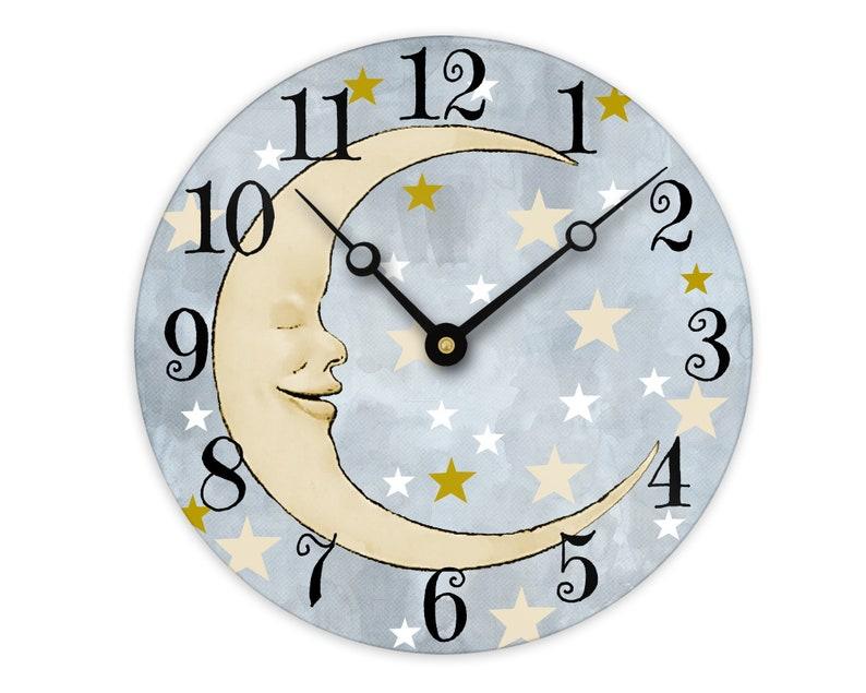Man In The Moon Wall Clock Celestial Nursery Wall Decor Baby Etsy