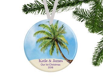 Our First Christmas Ornament, Personalized Couples Gift, Bridal Shower Gift, Wedding Gift, Tropical Palm Tree Beach Christmas Decor