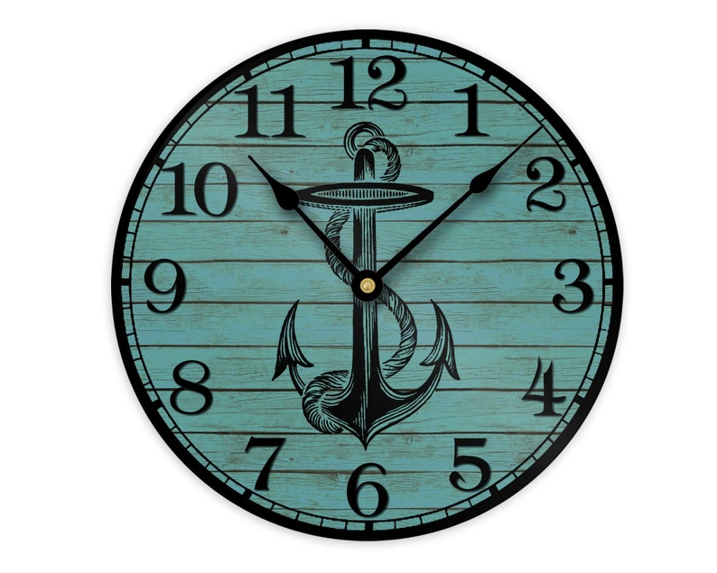 Anchor Wall Clock  Nautical Coastal or Beach House Wall image 0