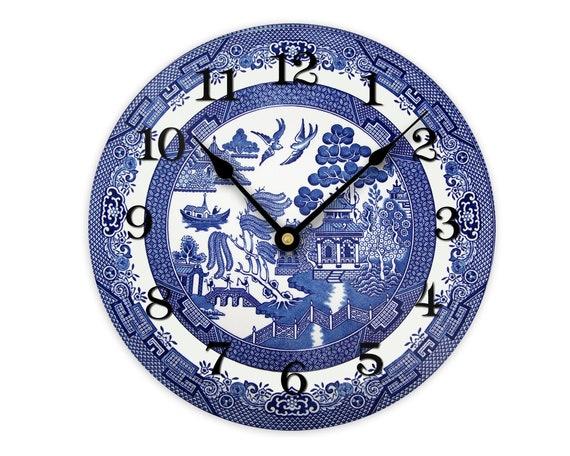 Blue Willow Wall Clock Farmhouse Kitchen Decor