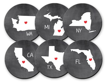 Personalized State Coasters Set, Home Bar Decor