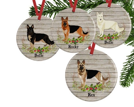 German Shepherd Christmas Ornament Personalized Dog Memorial Etsy