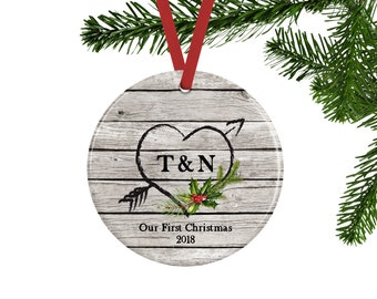 Our First Christmas Ornament, Personalized Couples Gift, Rustic Ornament with Heart and Arrow, Unique Bridal Shower or Wedding Gift