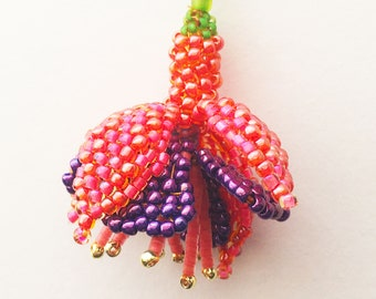 Beaded Flower Instructions Fuchsia tutorial for seed bead flower PDF Downloadable Pattern
