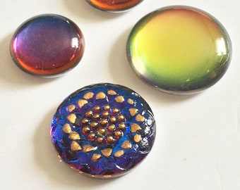 Designer Inspired Collection Czech Button Cabochon Blue/Copper