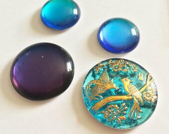 Designer Inspired Collection Czech Button Cabochon Aqua Gold