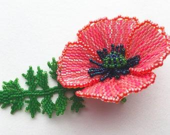 Beading Tutorial for Poppy Flower PDF Downloadable Tutorial