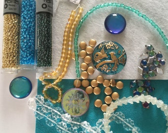 Designer Inspired Collection Czech Button Cabochon Aqua Gold - Small Collection
