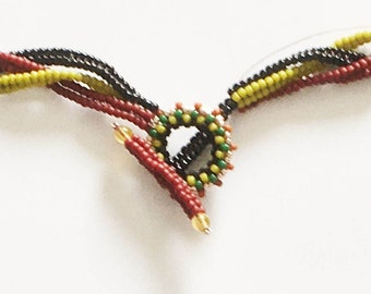 Tutorial Toggle Loop and Bar Clasp made with round seed beads and delica beads