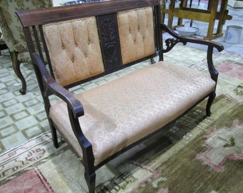 Antique Victorian Carved Wood Parlor Settee