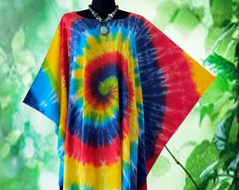 Tropical Vintage Spiral Tie dye Fringe Poncho Top