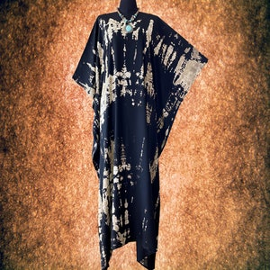 Shibori Bleach Effect Hand dyed V neck Kaftan Caftan dress