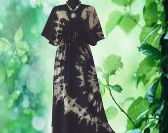 Bleach Hand dyed Spiral dress maxi Kimono dress