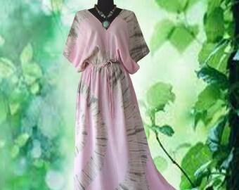 Tropical Vintage Spiral Hand dyed Artwork dress maxi Kimono dress