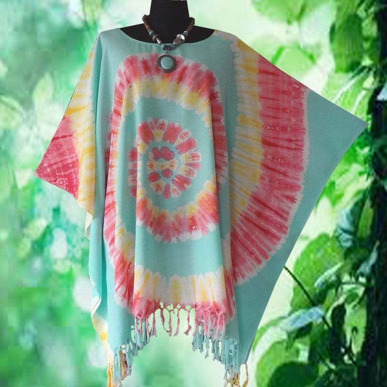c9dc903f61 Tropical Sherbet Spiral Tie dye Casual Cover Up Blouse Poncho | Etsy
