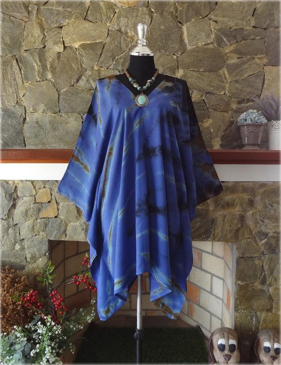 Shibori Bleach Hand Dyed Artwork V neck Poncho Tunic Top blouse