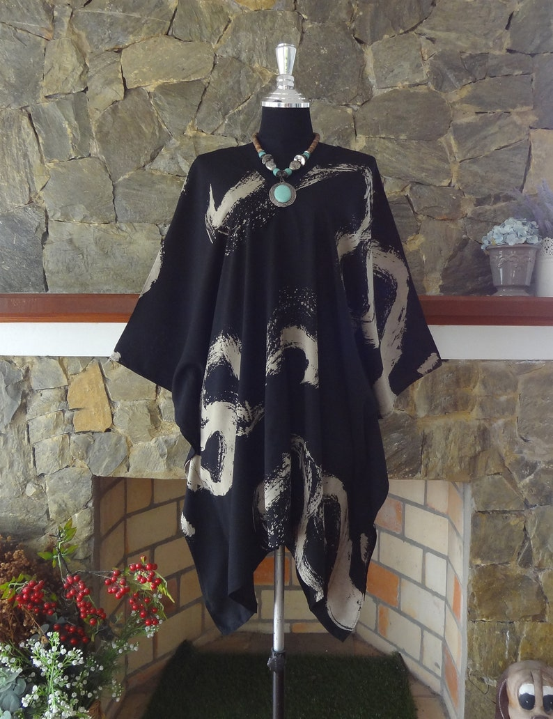 Abstract Bleach Hand dyed V neck Cover Up Poncho Top blouse