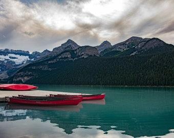 Red Canoes on Lake Louise, Banff National Park, Alberta, Canada, canadian rockies, lake louise decor, lake art, late photo, mountain art