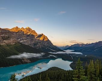 Peyto Lake at Sunrise in Banff, Alberta, Canada, Canadian National Park, lake art, lake decor, lake photography, mountain art