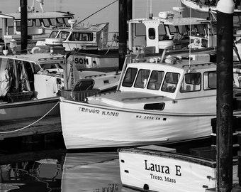 Fishing boat, provincetown, massachusetts, cape cod, black and white, nautical art, nautical photo, home decor, nautical decor, cape cod art