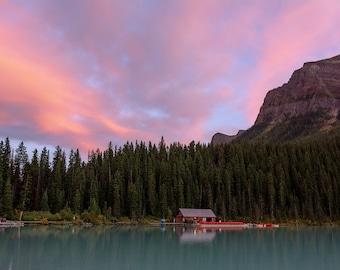 Sunset on Lake Louise, Banff National Park, Alberta, Canada, Canadian rockies, lake art, lake decor, canadian national park, mountain art
