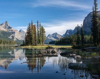 Spirit Island on Maligne Lake, Jasper National Park, Alberta, Canada, canadian art, nature decor, lake photography, mountain decor