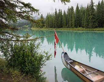 Canoe with Canadian Flag on Bow River, Banff National Park, Alberta, Canada, canadian rockies, mountain art, mountain photography, nature