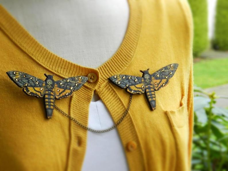 Death/'s Head Moth Sweater Guard Brooch