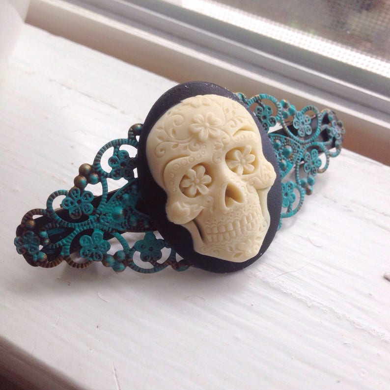 Day of the Dead Belt Buckle Hand-Made Sugar Skull Tattoo Halloween Rockabilly