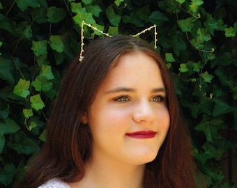 Crystal Cat Ears Headband, Gold Kitten Ears With Swarovski Elements, Kitty Cat Hair Band, Metal Wire Cat Ears, Golden Costume Ears
