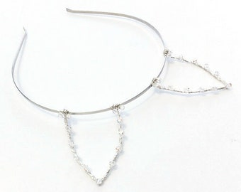 Crystal Fox Ears Headband, Silver Wire Animal Ears With Swarovski Elements, Photo Prop, Cosplay Accessory, Costume Ears, Gifts For Girls