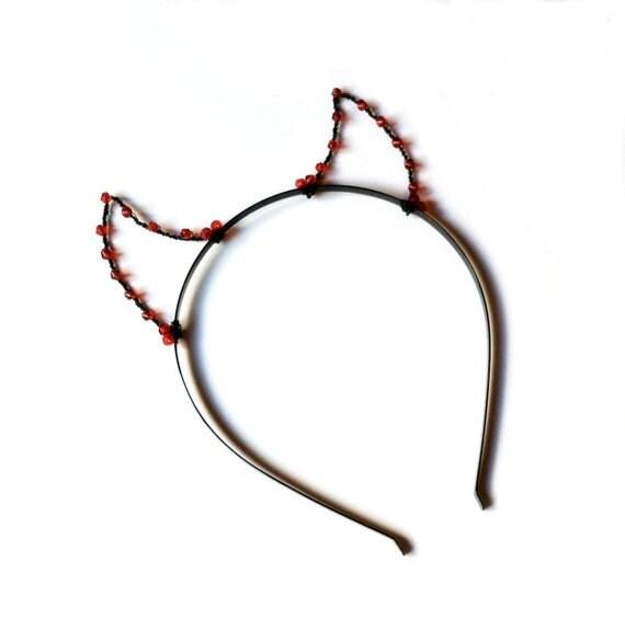 Schwarz / rote Teufel Hörner Stirnband Perlen Draht Dämon | Etsy