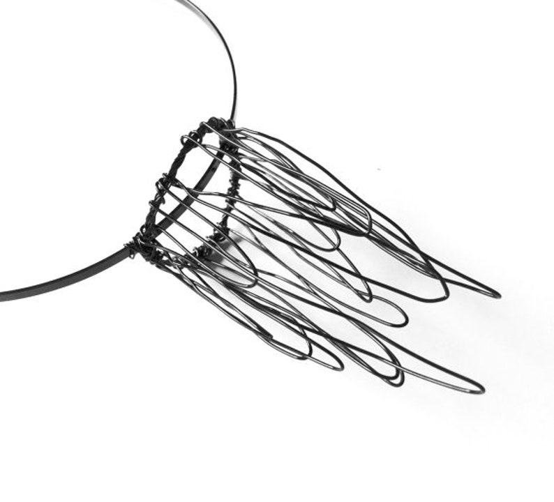 Alternative Bridal Crown Gothic Headband Fairy Crown Metal Side Crown Small Black Wire Crown Fascinator Metal Tiara Faerie Headpiece