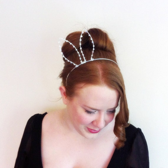 Sexy Bunny Ears, Crystal Rabbit Ears Headband With Swarovski Elements, Silver Wire Easter Hair Band, Bachelorette Accessory, Gifts For Her by Etsy